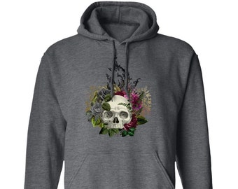 Winey Bitches Co Floral Skull Design #1 Pullover Hoodie 8 oz.