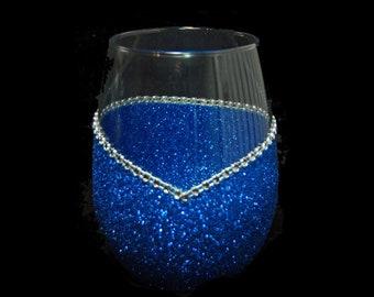 Bling Stemless V Style Wine Glasses -Choose your color.