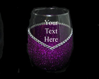 Personalized Stemless Bling V Style Wine Glasses -Choose your color.