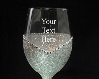 Wedding- Aniversary Personalized Bling Glitter Wine Glasses - Choose your color-From Winey Bitches Co
