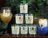 Blinged Candle Set -Stem Glass (Choose your color glass and scent candle)