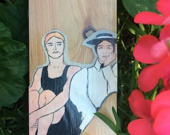 "Wood block collage ""Bathers"""