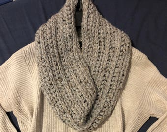 Long crochet ribbed cowl scarf