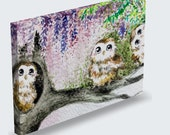 Mysteria - Owls under wisteria printed art