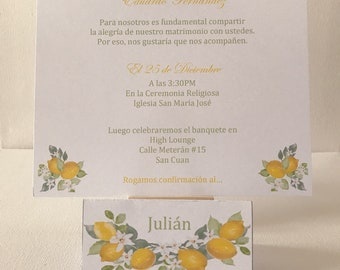 Set of French or Spanish text invitation