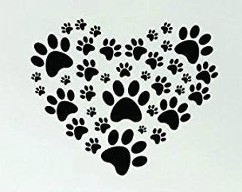 00605f2a6c835 Dog Paw Print Heart Quote Decal Sticker Wall Vinyl Bedroom Living Room  Decor Art Animals Vet Rescue Adopt Puppy Cute
