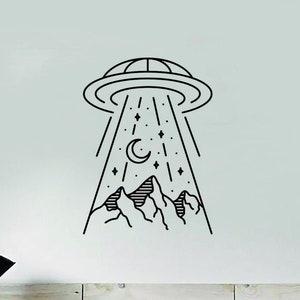 Alien Chill Head Decal Sticker Wall Vinyl Art Home Bedroom Living Room Decor Space Aliens Martians Funny Teen Kids UFO Galaxy