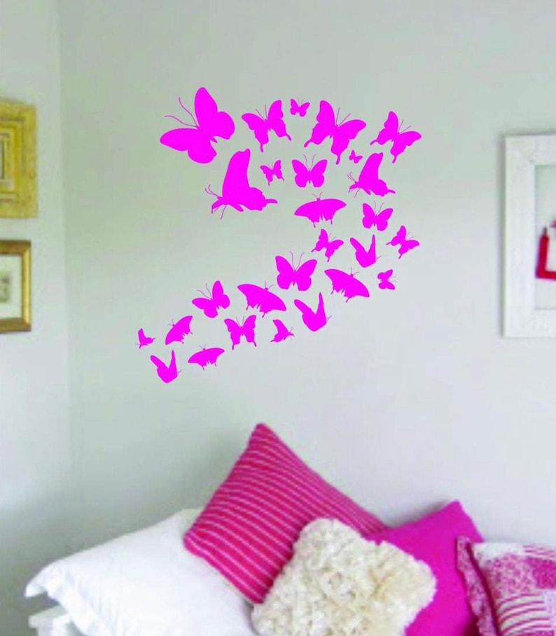 Butterflys v2 Quote Wall Decal Sticker Bedroom Living Room Art Vinyl Beautiful Teen Kids Pink Butterfly Wings Cute Beautiful Insects Nature