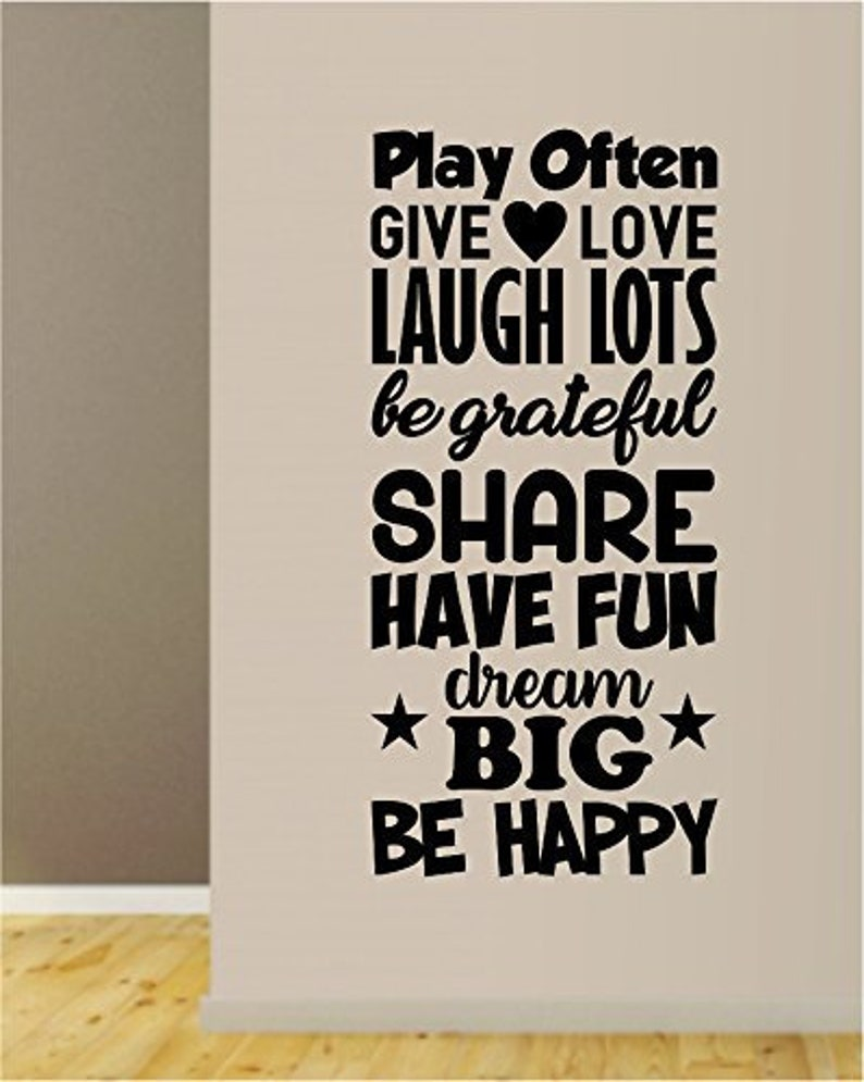 Play Often Give Love Laugh Lots Decal Sticker Wall Vinyl Art Home Decor Teen Quote Inspirational Nursery Kids School Baby Boy Girl Playroom