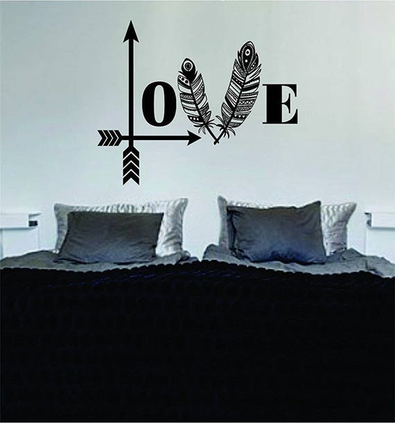 Love Arrows Feathers Quote Wall Decal Sticker Room Art Vinyl Etsy