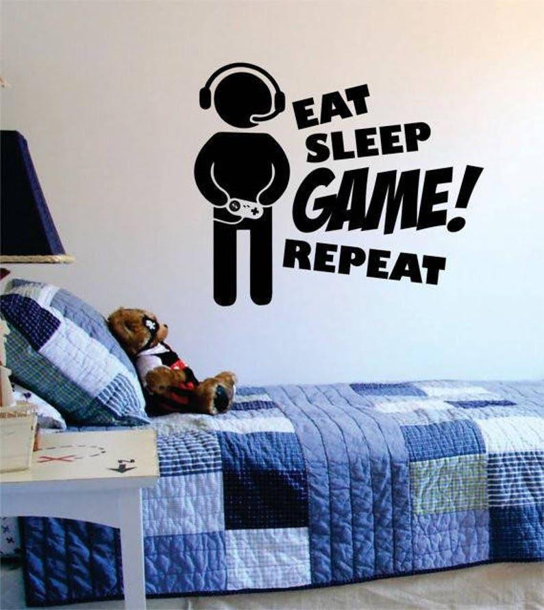 eat sleep game repeat v2 wall decal decor decoration vinyl | etsy