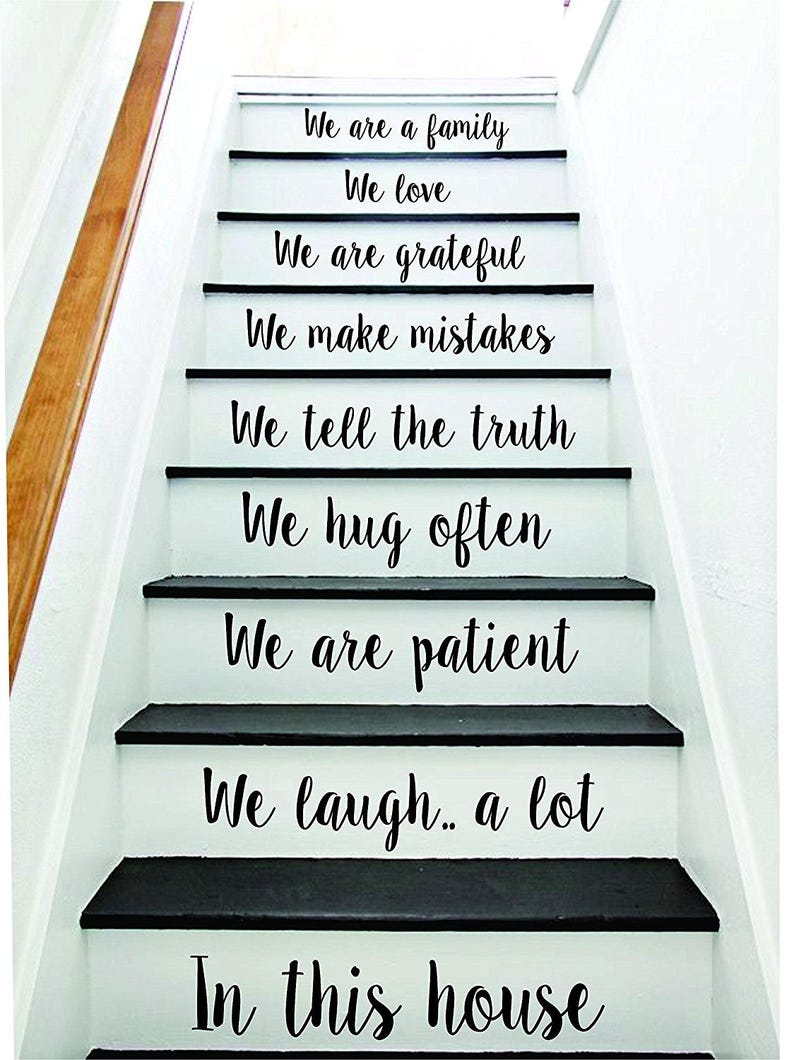 In This House Stairs v4 Wall Decal Home Decor Decoration Sticker Room Art  Vinyl Staircase Family House Inspirational Beautiful Stairway
