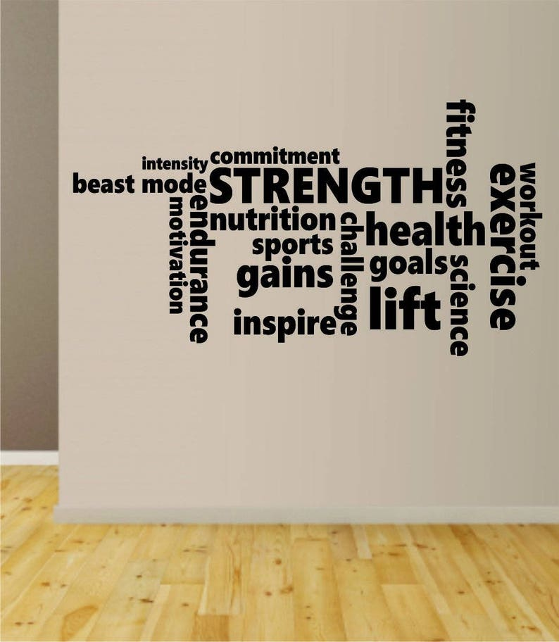 Fitness Words Quote Decal Sticker Wall Vinyl Art Home Room image 0