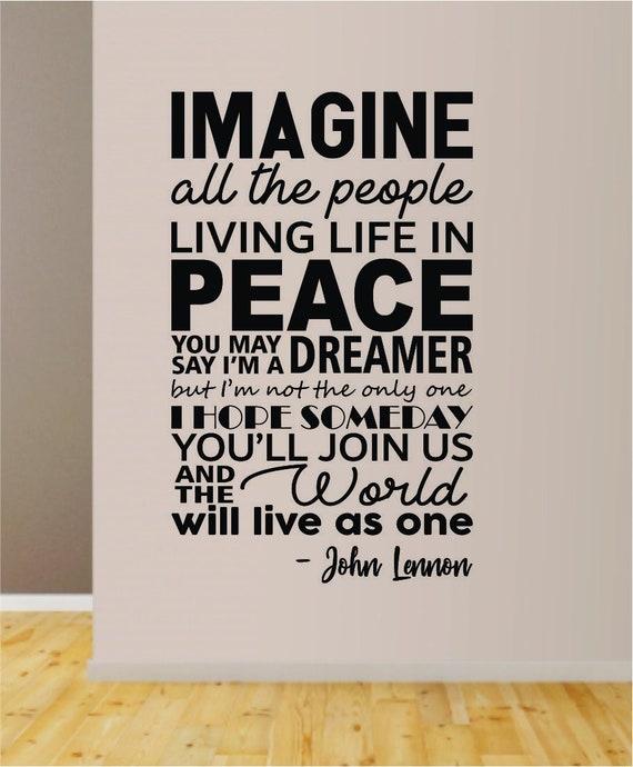 Decal Wall or window Imagine all the People ~ Lyrics