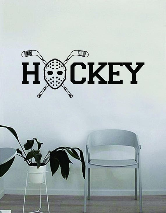 Hockey Mask Logo Wall Decal Quote Home Room Decor Decoration Art Vinyl  Sticker Inspirational Sports Teen Sticks Extreme