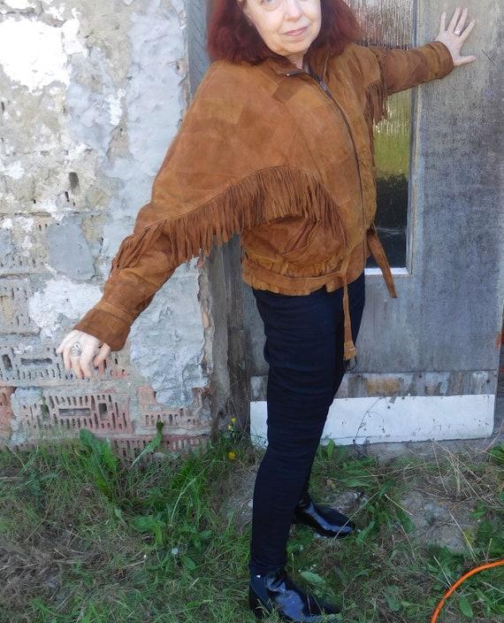 Vintage Leather Jacket/Fringe/Indian Style/Inside