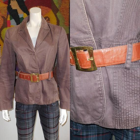 Cotton Brown Jacket with Belt/Vintage