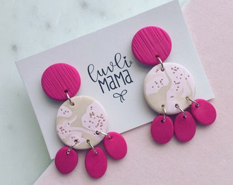 Pink Champagne Dangles Handmade Polymer Clay Earrings