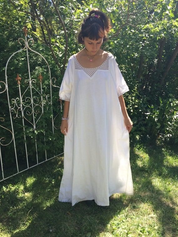 Antique White Cotton Long Nightie Edwardian French