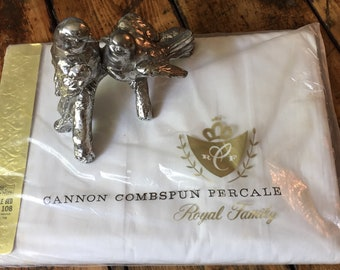 Vintage  Cannon Combspun  Percale fitted cotton white sheet for double bed 1970s old stock never used in package