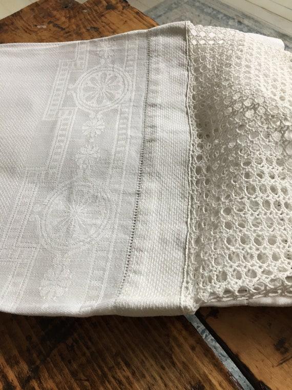 Vintage White Cotton Towel Antique Damask Linen With Crochet Etsy