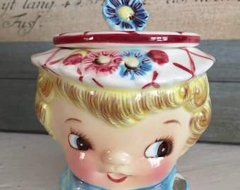vintage Lefton Miss Dainty sugar bowl ESD signed and sticker 1950s kitsch  made in japan