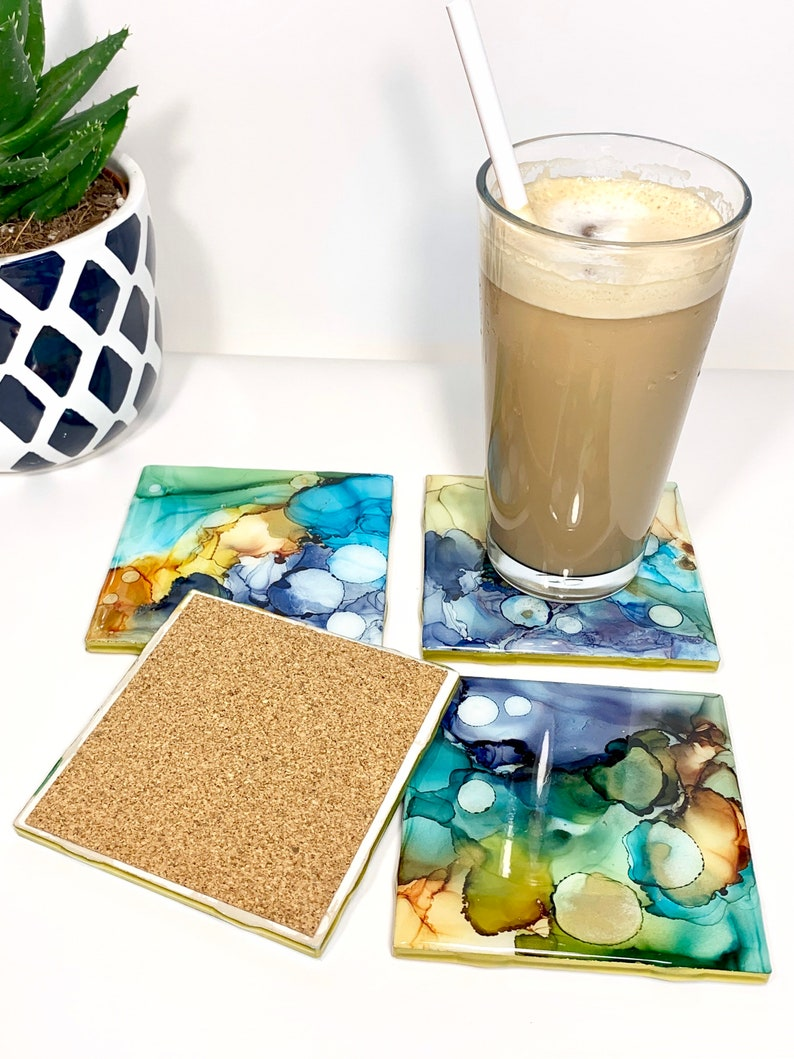 Alcohol Ink Tile Coasters