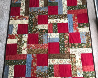 Old Fashioned Floral in Red, Brown, Blue, Green and Beige Lap Quilt - Small Quilt, Autumn Quilt