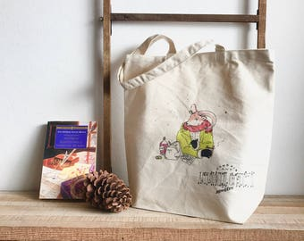 """Hand-painted tote bag """"astronomical observation"""""""