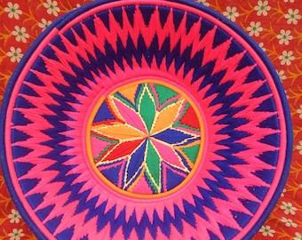 hand woven pink and purple nepali style basket