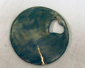 Valentine's Day gift Idea. Glazed stoneware pendant, long necklace, stoneware pendant, handmade, made in Italy.