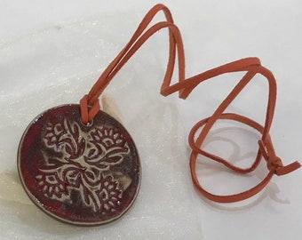 Glazed stoneware pendant, long necklace, stoneware pendant, handmade, gift idea.