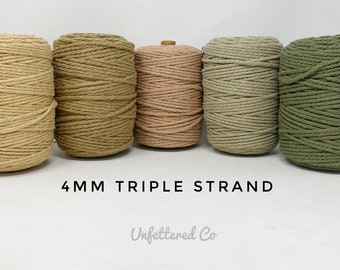 4mm Macrame Cord/3 Ply Coloured Macrame Cord/Triple Strand Twisted Soft Cotton Rope/100% Recycled Cotton/Free Shipping/DIY Macrame/Weaving