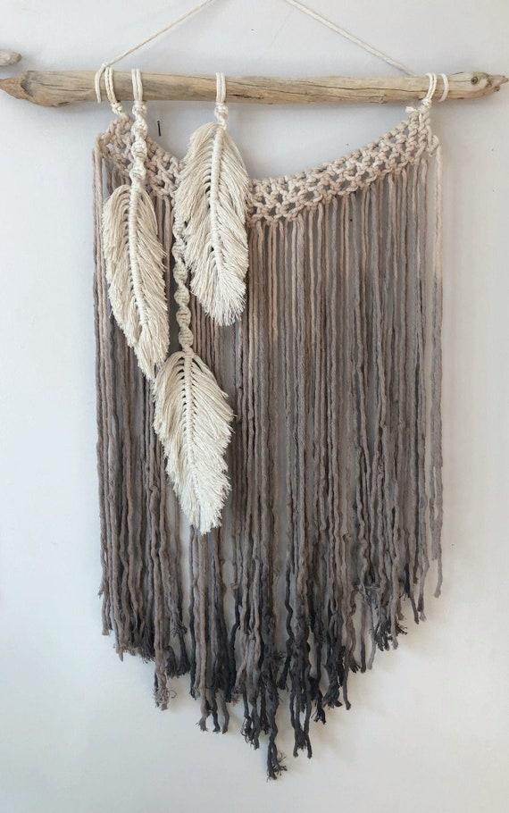 Modern Macrame Feather Wall Hanging Macrame Feathers Boho Etsy