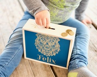 Money box for children with name with desired motif - Favorite box - Mandala design