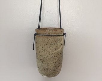 Hanging Vase: Recycle clay with Speckled Matte White Glaze