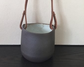 Hanging Planter: Black Mountain Clay with Horween Leather Strap