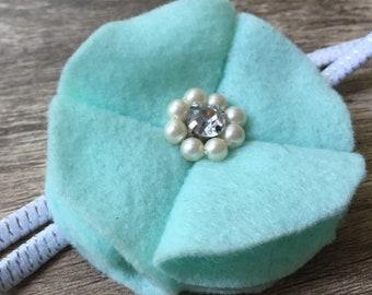 Floral Headband Mint Felt and Pearl Flower Headband