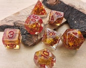 Golden Autumn - cozy gold dice - quirky dnd gift - d20 fantasy dice - for fans of Critical Role or Dungeons and Dragons