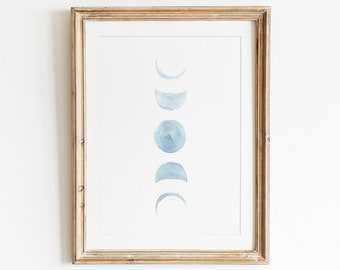 Watercolor Moon Phases, Printable Wall Art, Moon Print, Moon Phases Sign, Lunar Phases, Moon Poster, Astronomy, moon phases poster