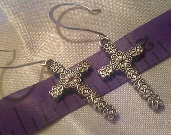 Fancy cross earrings