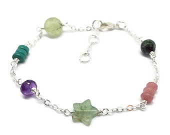 Assorted gemstone bracelet in pinks and greens