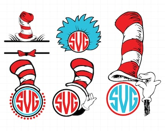 Cat In The Hat SVG, Dr. Seuss Svg, Svg Files, Cricut Files, Silhouette File, Instant download,t-shirt,Digital designs