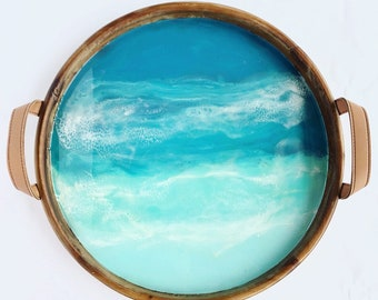 Wooden Beach Tray hand painted in Resin, serving tray, beach art