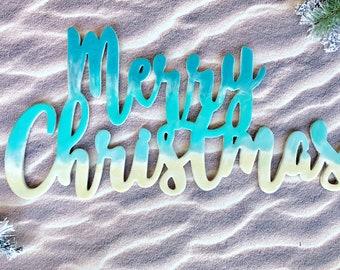 Christmas decor, Holiday sign, resin wall art