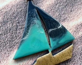 Resin art ornament, original art, beach art, ocean art