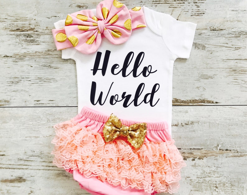 a06194d7ccb Baby Girl Coming Home Outfit, Hello World Newborn Outfit, Infant Girl  Clothes, Newborn Girl Outfit, Newborn Outfit Girl, Infant Girl