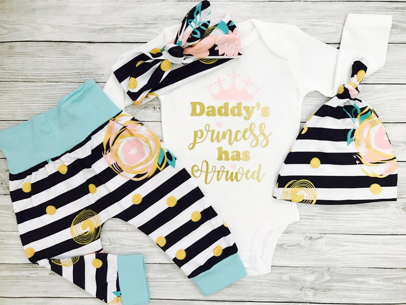 Newborn Girl Clothes Daddys Princess Newborn Girl Outfit Newborn Girl Newborn Girl Coming Home Outfit Coming Home Outfit Baby Girl