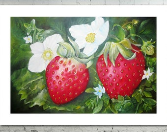 Strawberry digital print-Art poster berry pattern-Red Strawberry-Floral Printable Art-Wall Kitchen interior-Botanical oil painting original