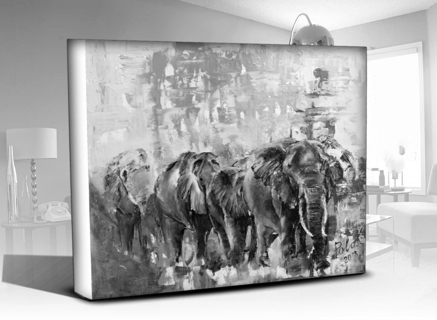 Elephants wall art print on canvas wabi sabi black and white art from contemporary painting original minimalist decor for animal lovers